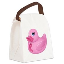 Pink Rubber Duck Canvas Lunch Bag