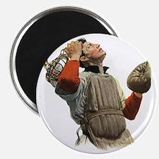 Vintage Sports Baseball Catcher Magnet