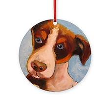 blue eye terrier Round Ornament
