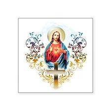 "Sacred Heart of Jesus Square Sticker 3"" x 3"""