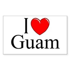 """I Love Guam"" Rectangle Decal"
