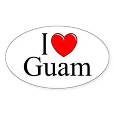 """""""I Love Guam"""" Oval Decal"""