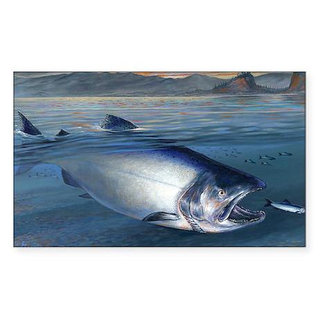 Early bite salmon Sticker (Rectangle)