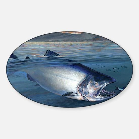 Early bite salmon Sticker (Oval)