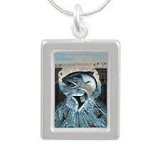 Salmon breaks Dam Silver Portrait Necklace