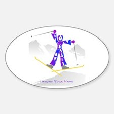 Mandana blue and purple ski jumping Oval Decal