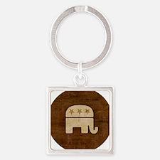 GOP Republican Elephant Wood Tone Square Keychain