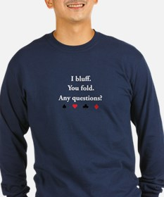 """Any Questions?"" Long Sleeve Navy T-Shirt"