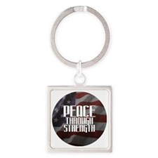 Peace Through Stength Square Keychain