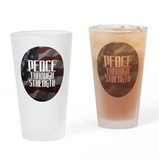 Peace Through Stength Drinking Glass