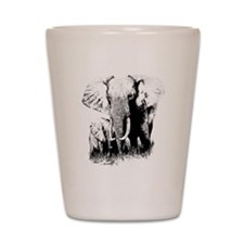 elephats_mom_baby Shot Glass