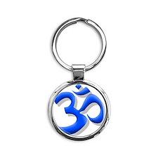 BLUE AUM Round Keychain