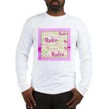 Mama_Words_Hispanic_Pink_Grn_1 Long Sleeve T-Shirt