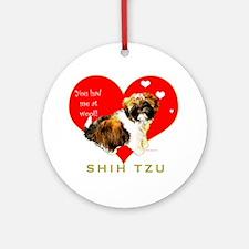 Shih Tzu Valentines Puppy Woof Ornament (Round)