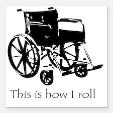 """Wheelchair Square Car Magnet 3"""" x 3"""""""