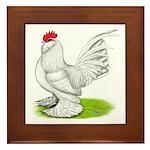 White d'Uccle Rooster Framed Tile