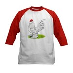 White d'Uccle Rooster Kids Baseball Jersey