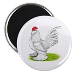 White d'Uccle Rooster Magnet