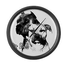 2dog head Large Wall Clock