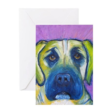 green mastiff5x7 Greeting Card