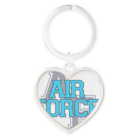 Air Force Varisty teal and gray cop Heart Keychain