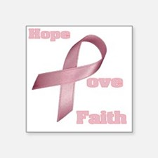 "Breast Cancer Ribbon Hope l Square Sticker 3"" x 3"""