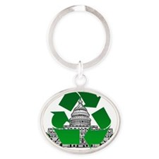 Recycling Oval Keychain