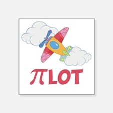 "Pink Pilot Pi Square Sticker 3"" x 3"""