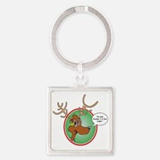 Grandma Got Run Over by a Reindeer Square Keychain