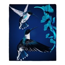 two blue Hummingbirds PosterP Throw Blanket