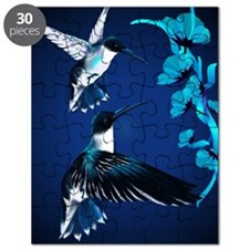 two blue Hummingbirds PosterP Puzzle