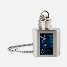 two blue Hummingbirds PosterP Flask Necklace