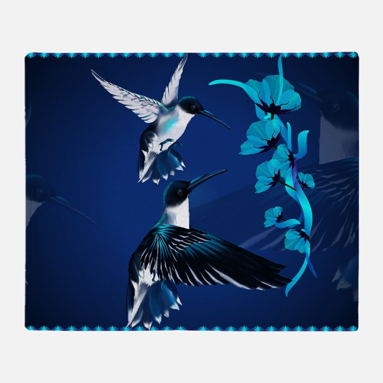 Two Blue Hummingbirds-Yardsign Throw Blanket