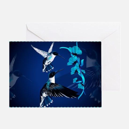 Two Blue Hummingbirds-Yardsign Greeting Card
