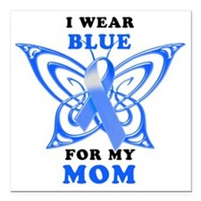 "I Wear Blue for my Mom Square Car Magnet 3"" x 3"""