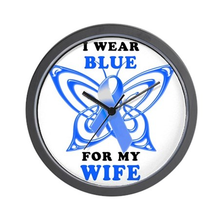 I Wear Blue for my Wife Wall Clock