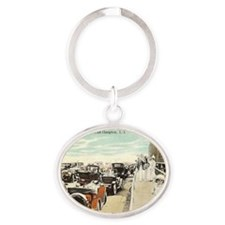 Waiting for Bathers Oval Keychain