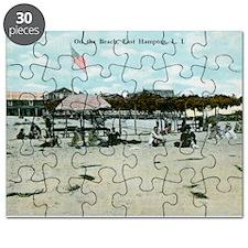 East Hampton beach vintage postcard Puzzle