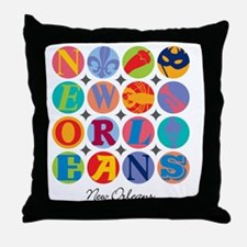 New Orleans Themes Throw Pillow