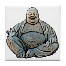 laughing_buddha_finger_3in Tile Coaster