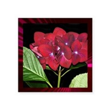"RedHydrangea_Pleats_PILLOW Square Sticker 3"" x 3"""