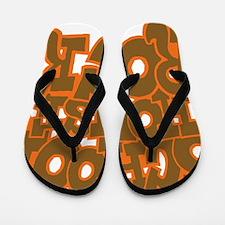 2-schoolhouserock_brown_dark_REVERSE Flip Flops