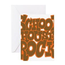 2-schoolhouserock_brown_dark_REVERSE Greeting Card