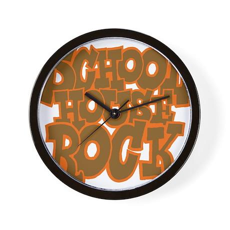 2-schoolhouserock_brown_dark_REVERSE Wall Clock