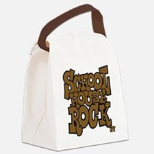 3-schoolhouserock_brown_dark Canvas Lunch Bag