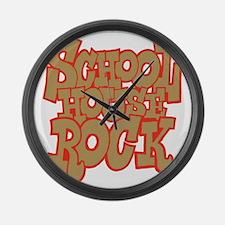 2-schoolhouserock_brown_REVERSE Large Wall Clock