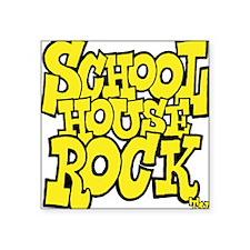 "3-schoolhouserock_yellow Square Sticker 3"" x 3"""