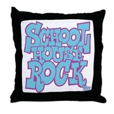 2-schoolhouserock_blue_REVERSE Throw Pillow