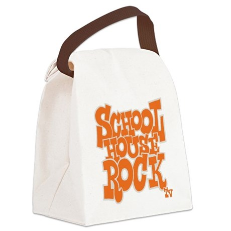 2-schoolhouserock_orange_REVERSE Canvas Lunch Bag