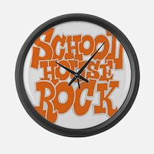2-schoolhouserock_orange_REVERSE Large Wall Clock